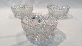 3 heavy cut crystal bowls