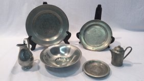 Pewter plates, bowl, and collectibles