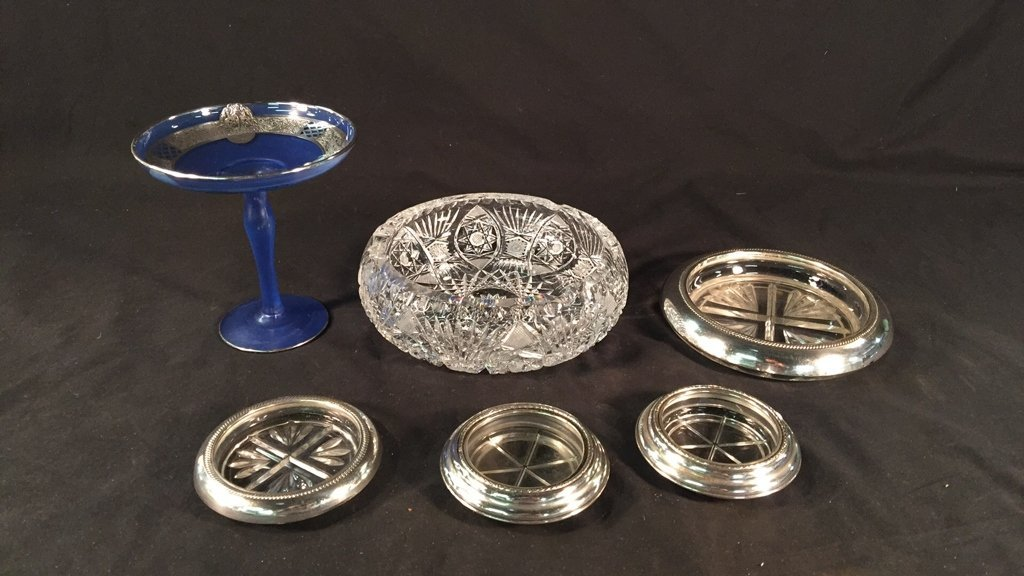 Sterling Coasters, Glass Compote, & Crystal Bowl
