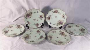 6 AK CD Limoges France Scalloped Edge Plates