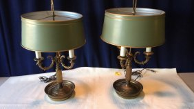 Pair of bronze French lamps