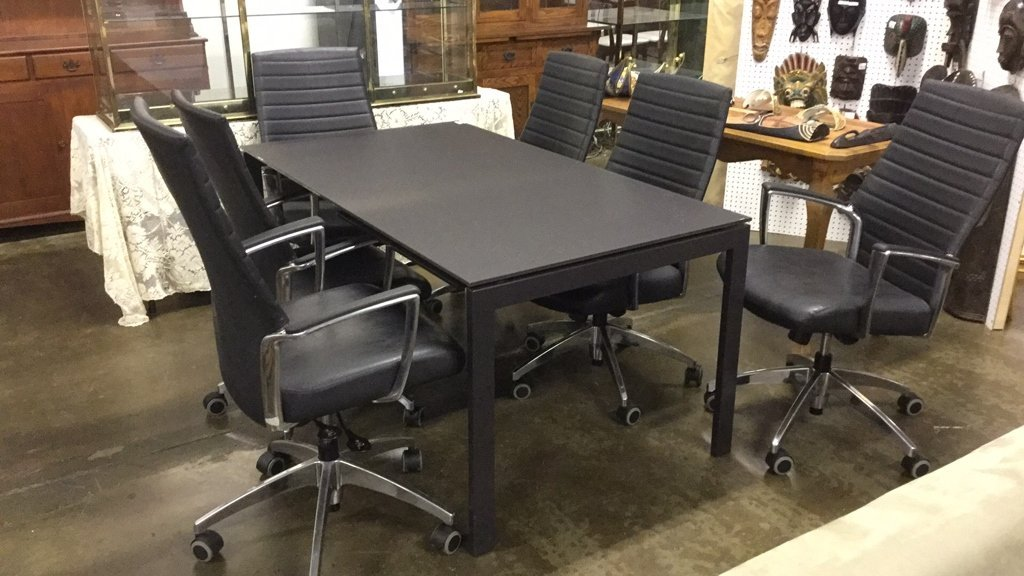 Smoke glass top table with 6 chairs