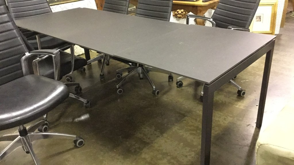 Smoke glass top table with 6 chairs - 3