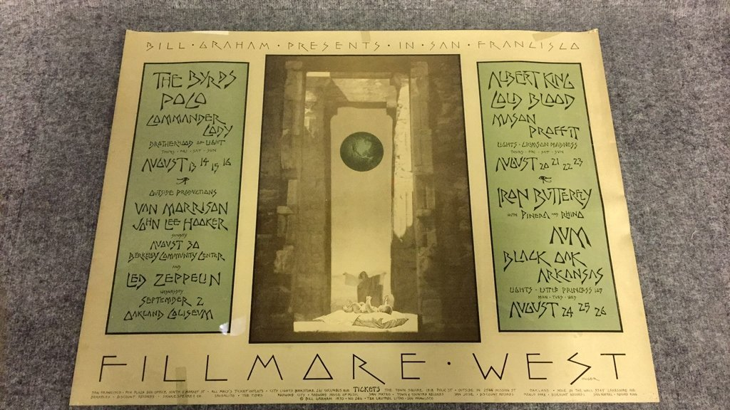 1970 Fillmore West Bill Graham Concerts Poster.