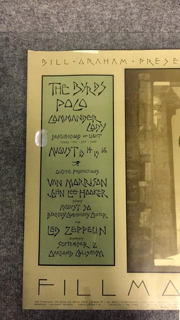 1970 Fillmore West Bill Graham Concerts Poster. - 2
