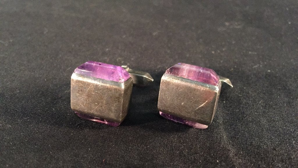 Pair of Mexican Silver Amethyst Cufflinks by Tono