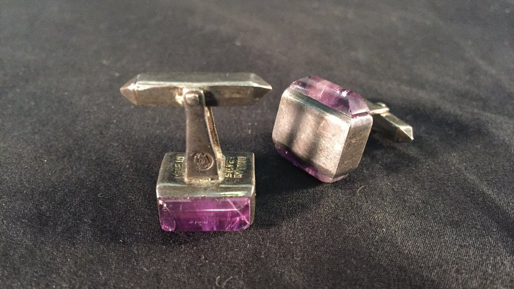 Pair of Mexican Silver Amethyst Cufflinks by Tono - 3