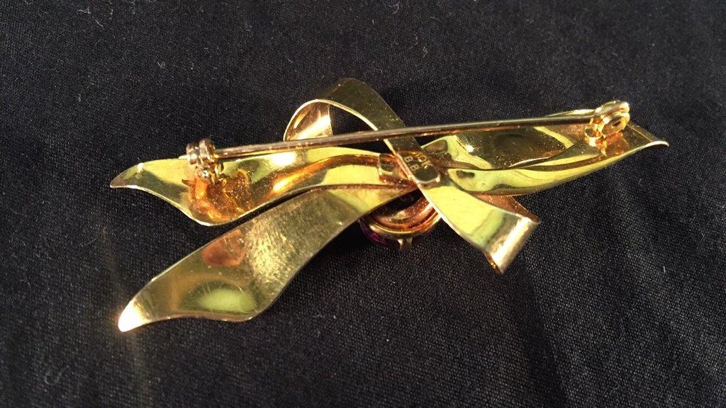 10k Gold Bow Brooch w/ Amethyst Stone - 2