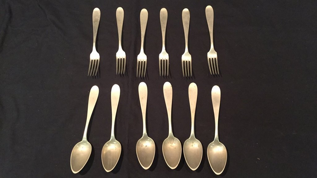 Lot of C. 1880's Arthur Krupp BMF Alpacca Flatware