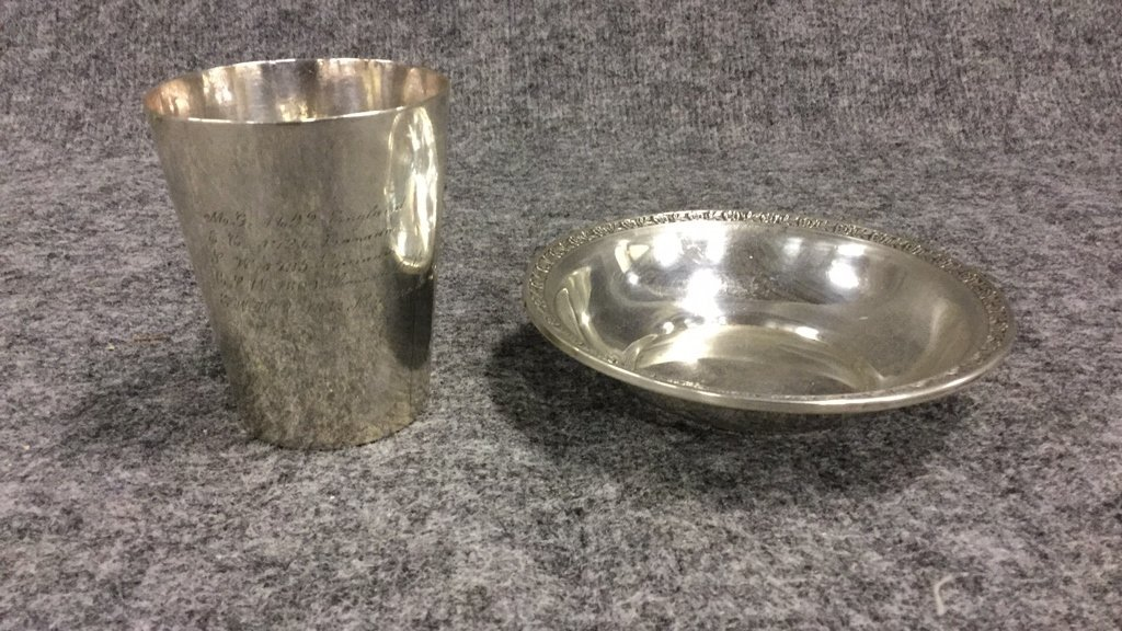 Sterling Silver Dish & Silver Cup