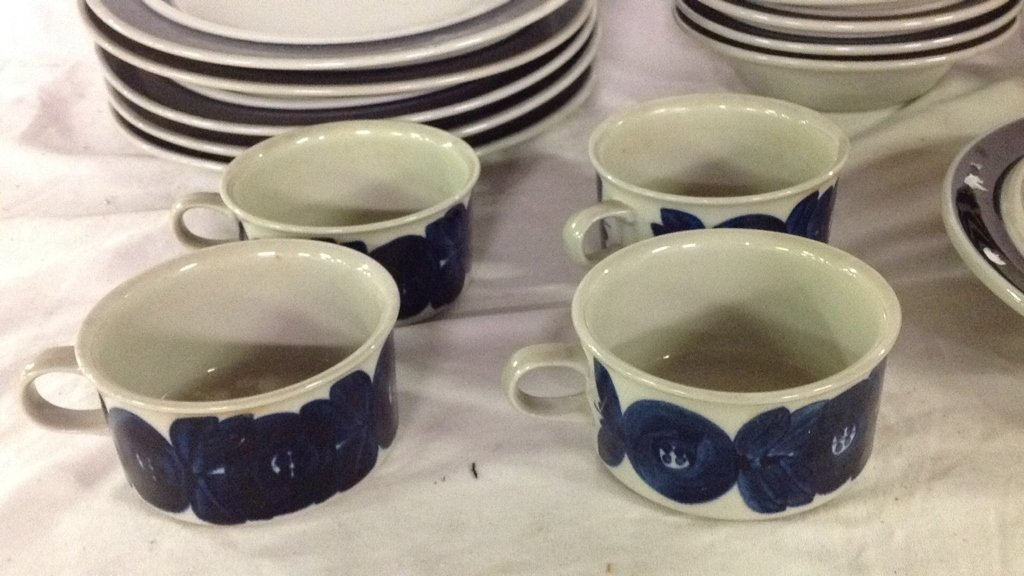 Anemone blue Arabia Finland dishes - 2