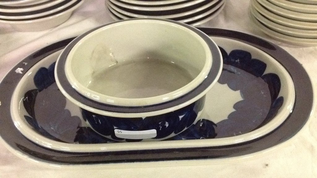 Anemone blue Arabia Finland dishes - 3