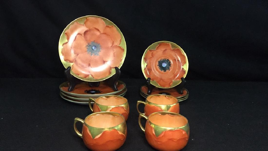 Fine Jorgensen Orange Flower Dishes - Set of 4