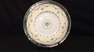 Mintons England Plate in Sterling Rim