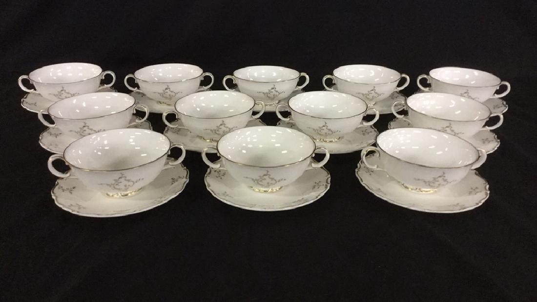 Set of 12 Cream Soup Bowls & Saucers