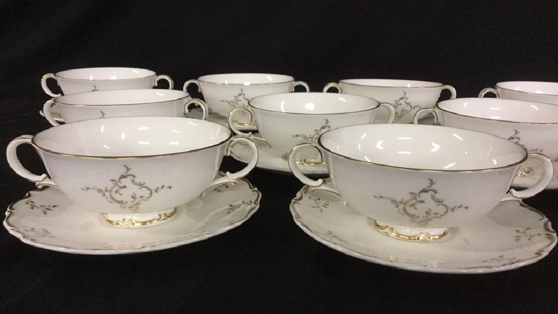 Set of 12 Cream Soup Bowls & Saucers - 2