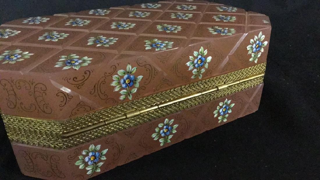 Painted rose quartz jewelry box - 4