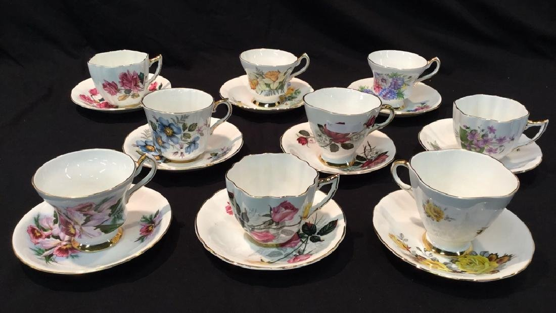 9 sets Royal Victoria Floral Cups And Saucers