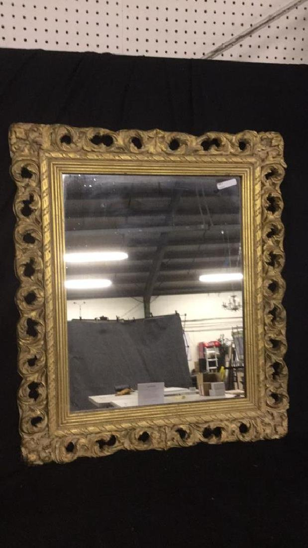 Gold wall hanging mirror