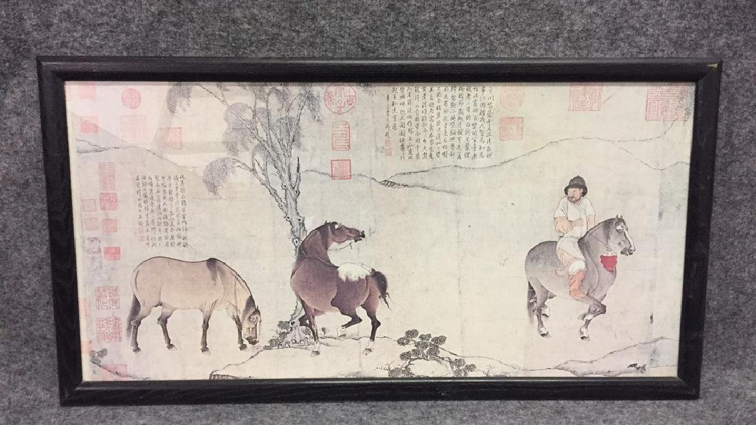 Framed Asian Print of Rider and Horses