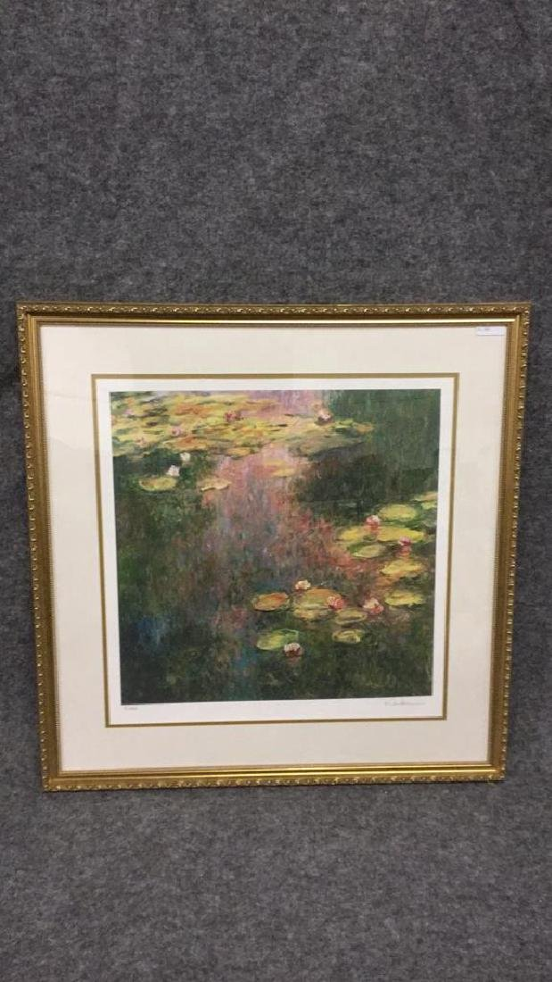 Signed impressionist print of lilies 81/400