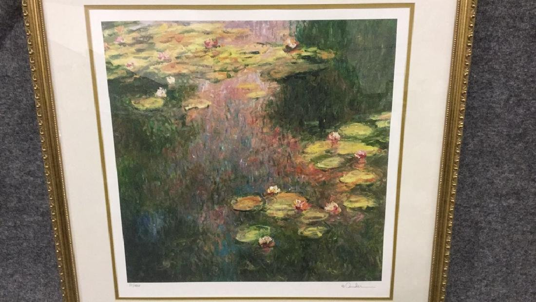 Signed impressionist print of lilies 81/400 - 2