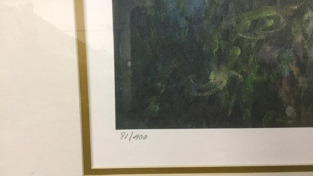 Signed impressionist print of lilies 81/400 - 4