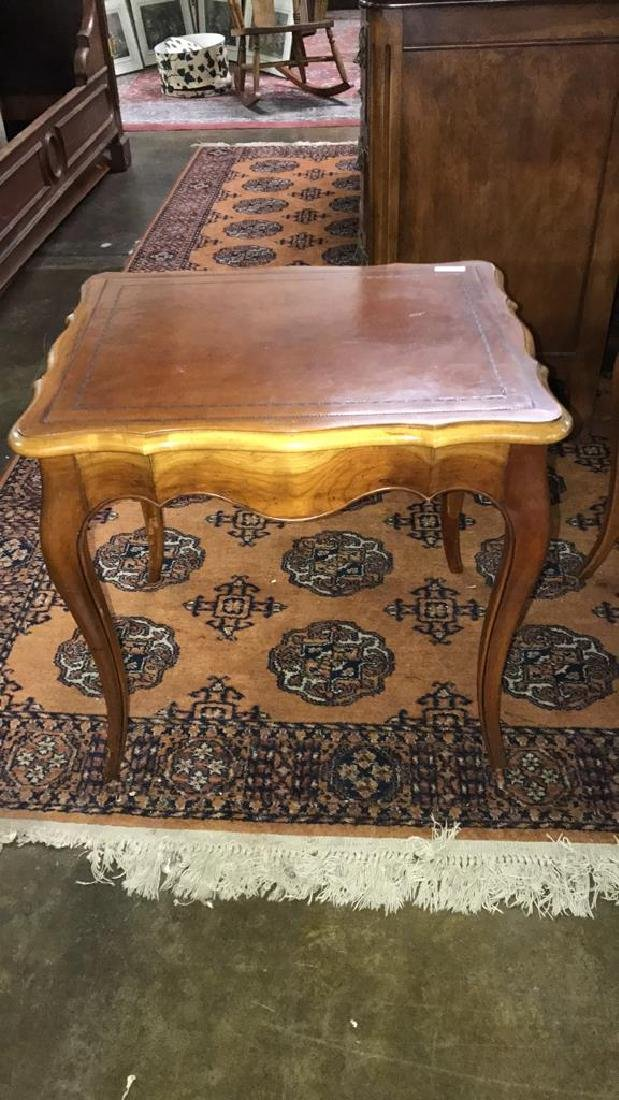 Two leather top side tables - 2