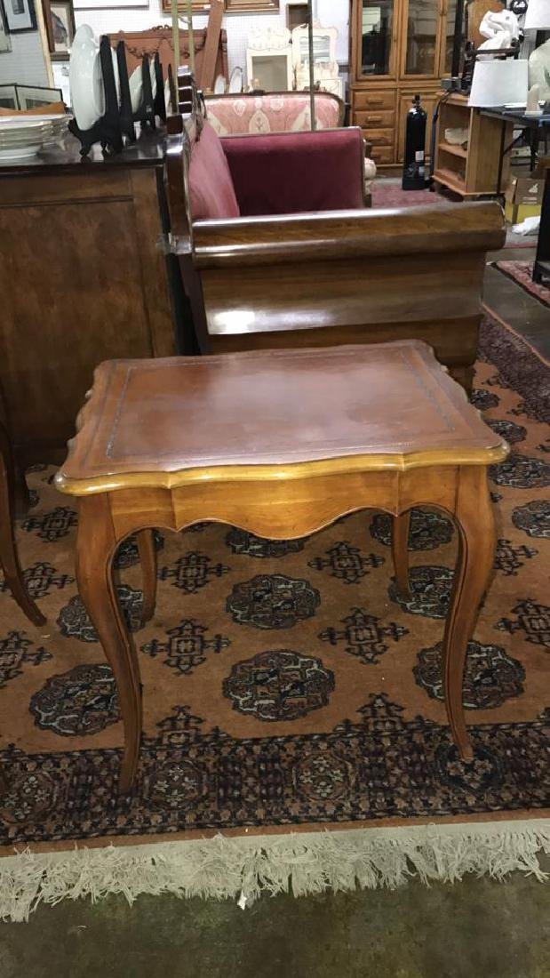 Two leather top side tables - 3
