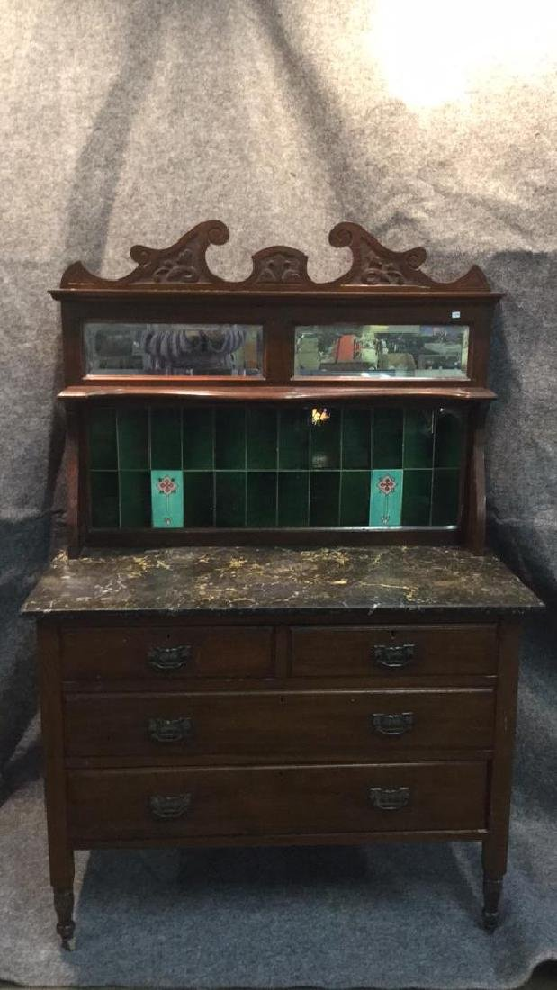Antique English marble top hutch