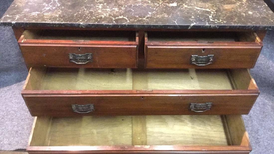 Antique English marble top hutch - 2