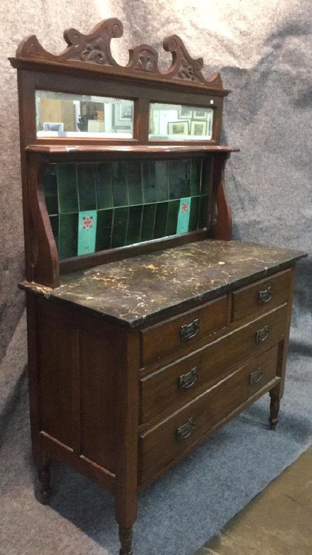 Antique English marble top hutch - 3