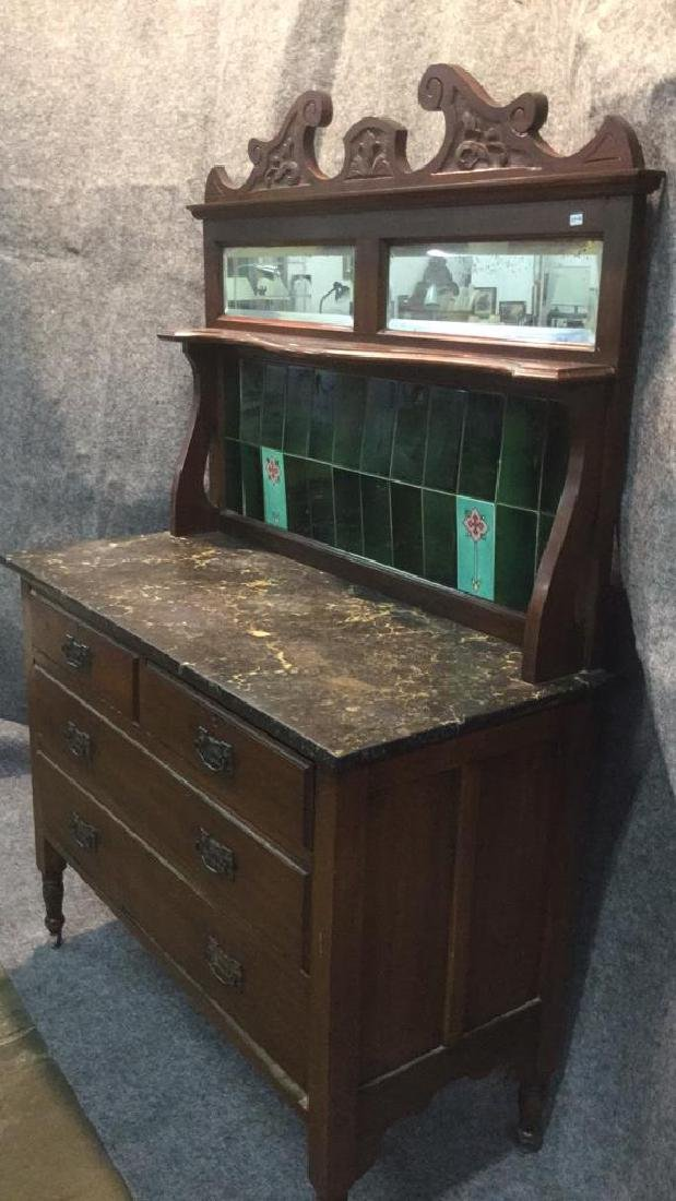 Antique English marble top hutch - 4