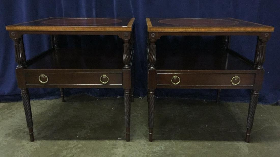 Fine Mahogany Leather Top Banded End Tables