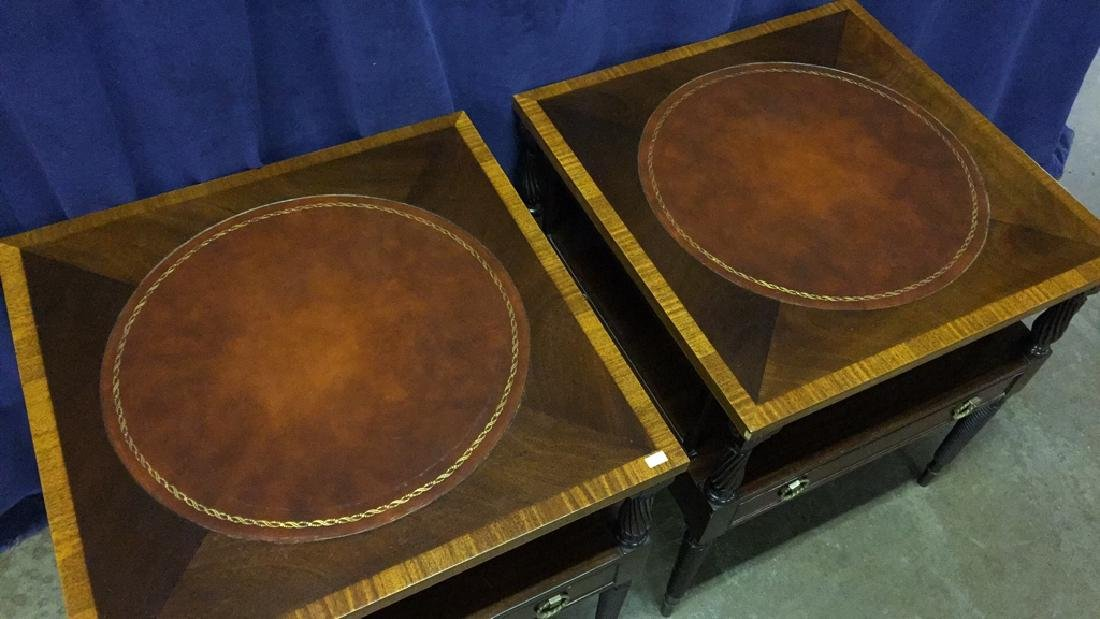 Fine Mahogany Leather Top Banded End Tables - 4