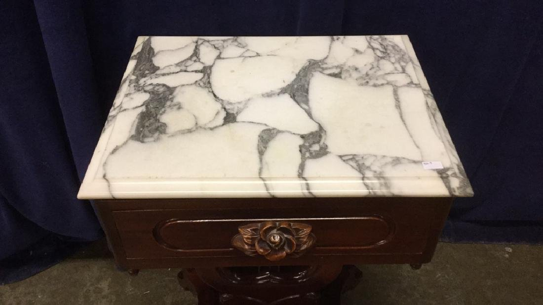 Victorian Marble Lyre End Table - 2