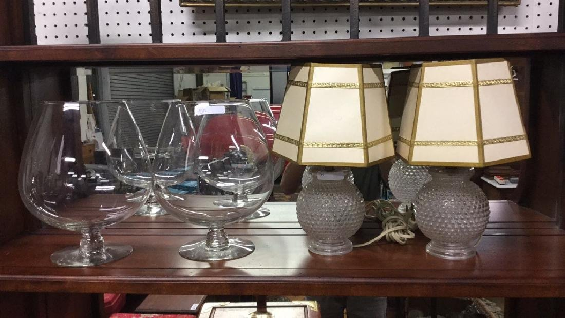 2 Glass based lamps and two vases