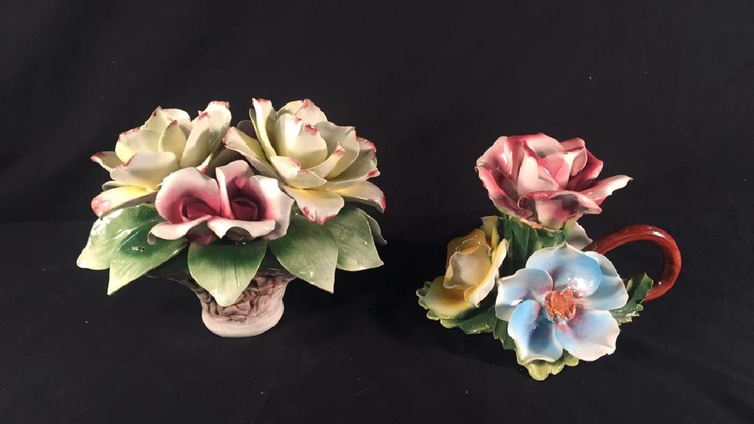 2 Capodimonte Porcelain Floral Collectibles