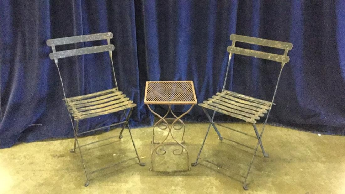 Iron patio chairs with table