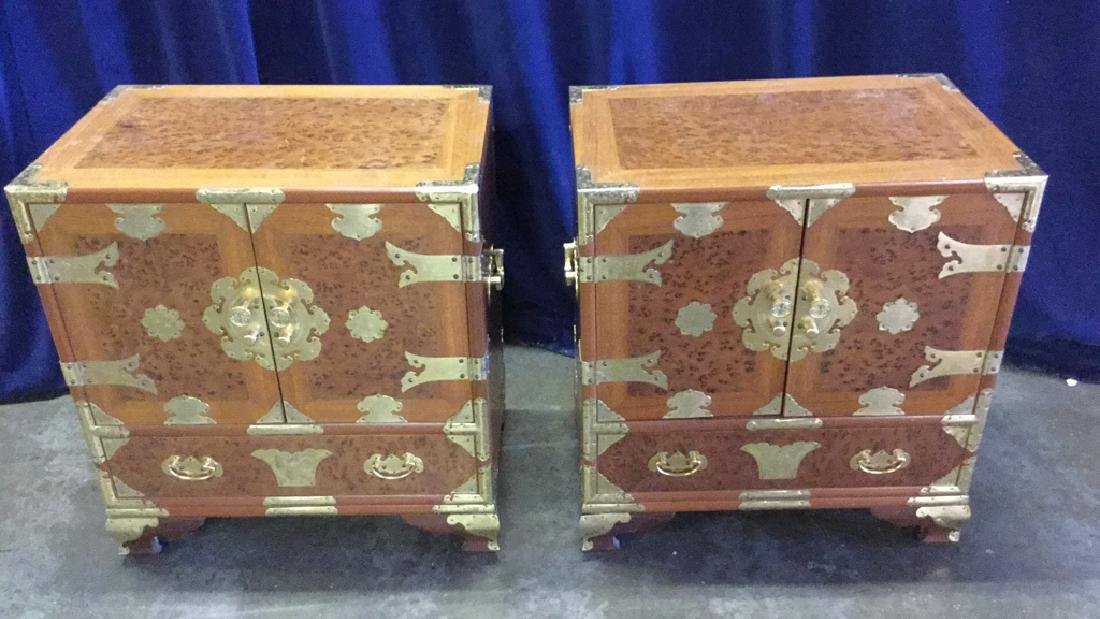 Two Burl inlaid Asian end tables