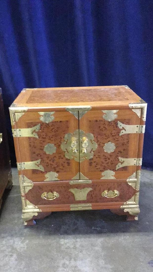 Two Burl inlaid Asian end tables - 2