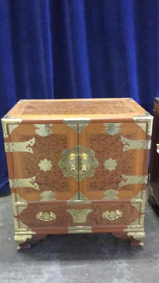 Two Burl inlaid Asian end tables - 3