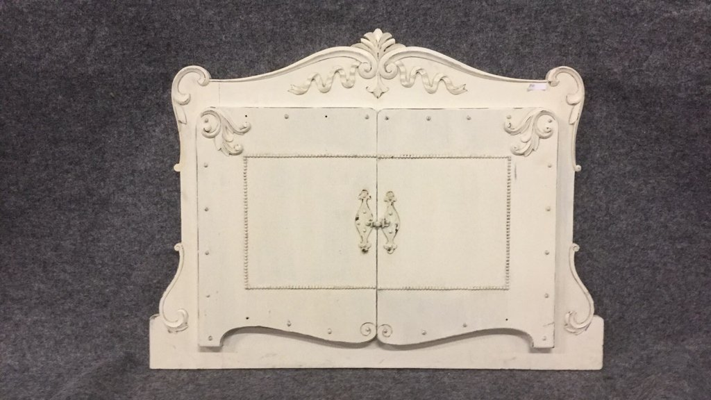 White painted Mirror with Door