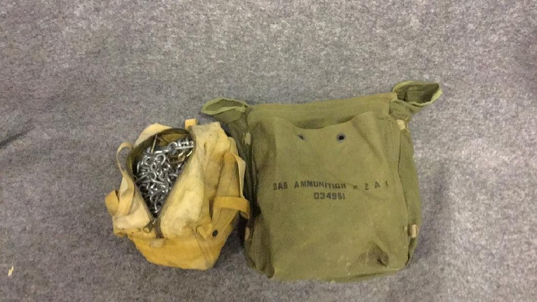 Towing chains and army ammunition bag