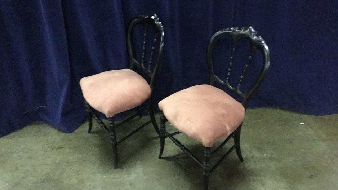 Two black Victorian side chairs - 2