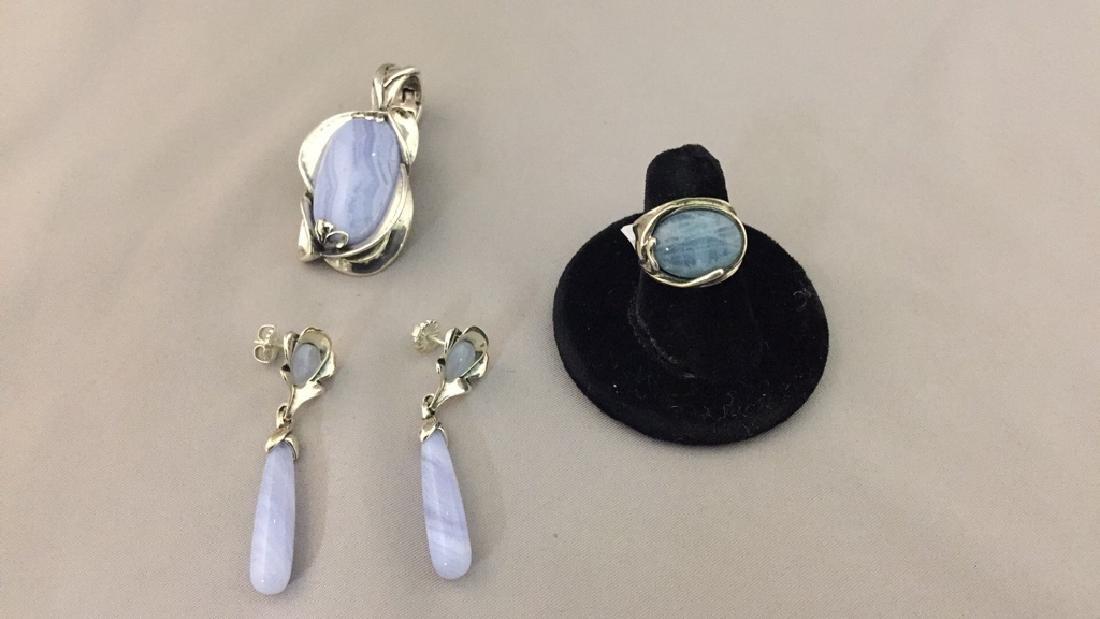 Carolyn Pollock Sterling Pendant, Earrings, & Ring