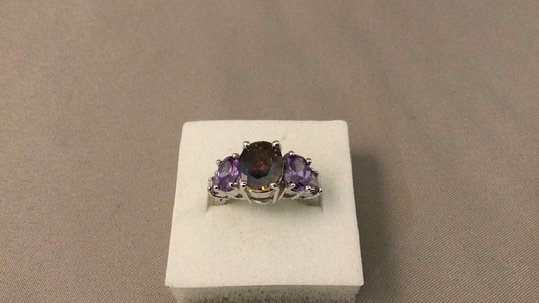Amethyst ring with Sterling band