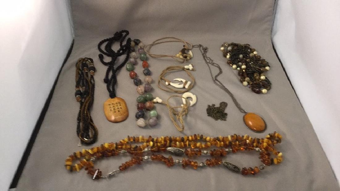 Amber,bone, and Sterling jewelry
