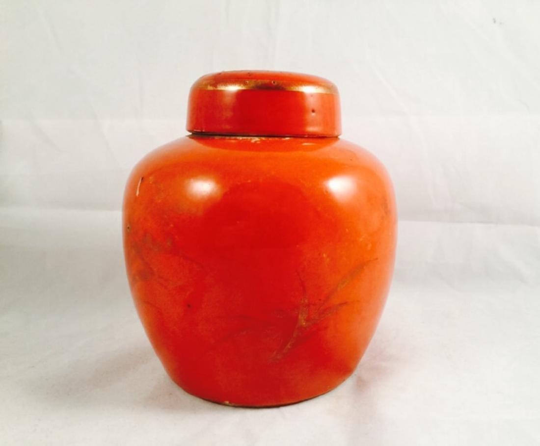 Red coral glaze ginger jar w/ lid