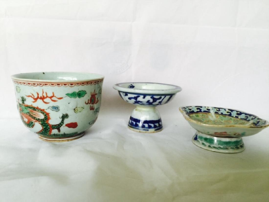 3 pieces Chinese porcelain dish